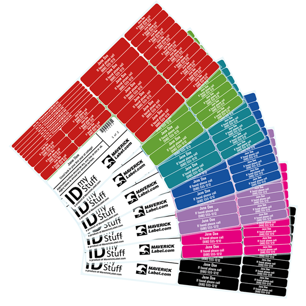 IDmyStuff Labels in 7 colors