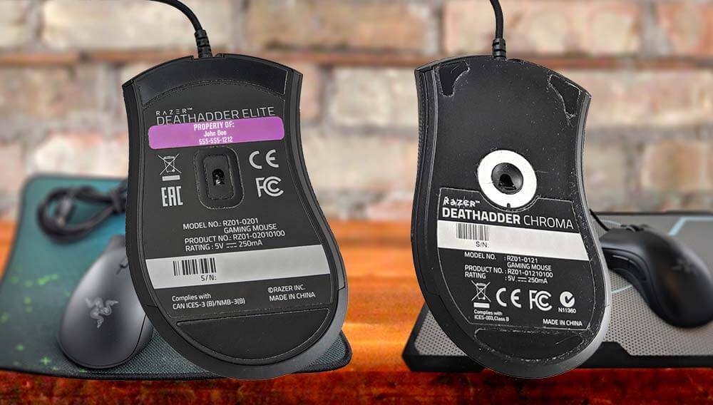 Two computer mice, one with a lavender IDmyStuff label