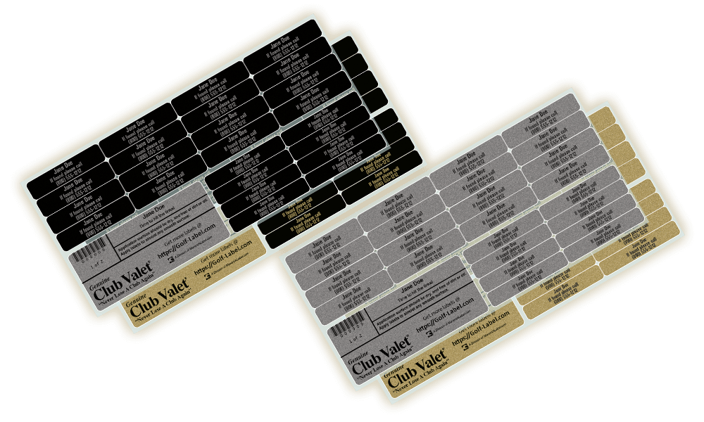 Sheets of Club-Valet golf labels in both silver and gold with black text, and in black with either silver or gold text