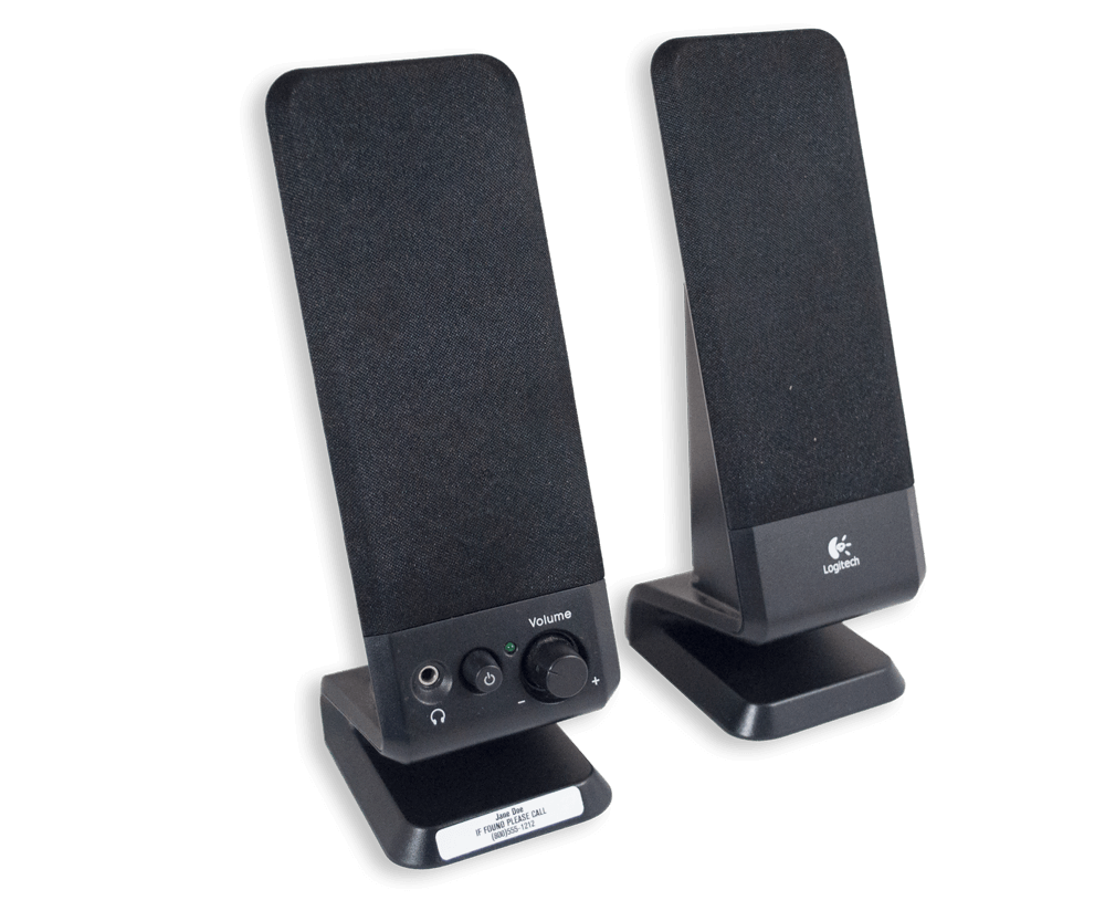 Small pair of black speakers with white ID tags