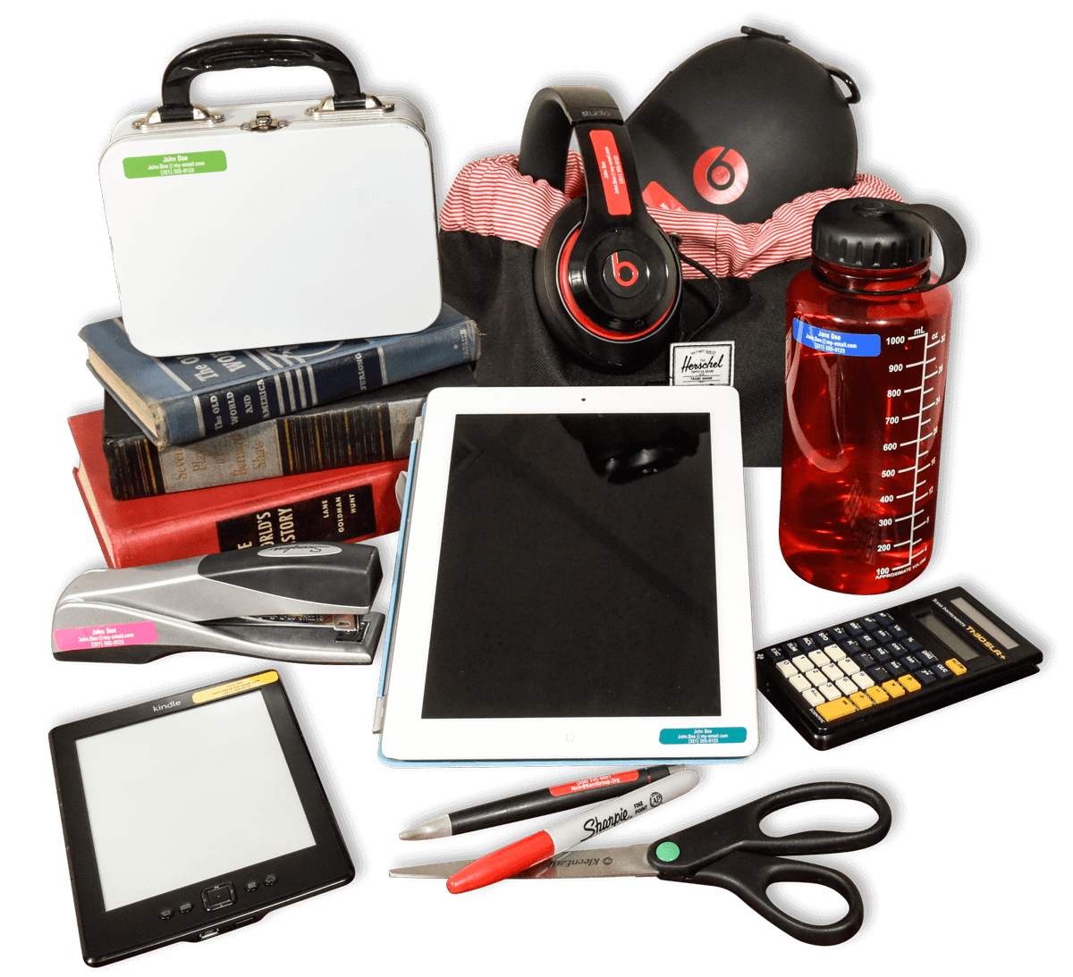 Headphones, water bottle, tablet and other school or office products tagged with ID labels in all three sizes and nine colors